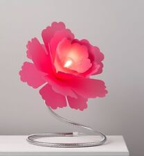 LARGE FUCHSIA Pink Flower Adjustable Silver Metal Stem Table Lamp Girls Bedroom