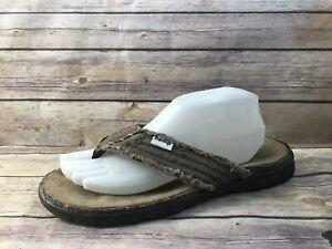 OMEGA Men sz 8 Brown Hemp Thong Flip Flops Sandals Shoes