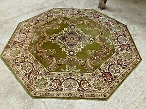 Vintage Antique Style Super Keshan Green Pattern 6 Sided Hexagon Shaped Rug