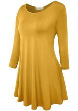 *NEW Women's Junior Size Medium Skater Fit Long Sleeve Mustard Yellow Tunic Top