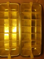 Ice Cube Trays 2 Vintage Metal Plastic Removable Insert / Mold - Free Shipping