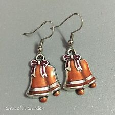 ER3090 Graceful Garden Handmade Copper Red Enamel X'mas Christmas Bells Earrings