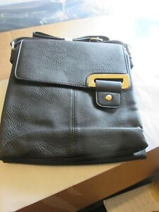 Black faux leather back across body messenger bag BNWT
