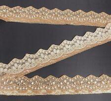 Bridal Lace Trim Copper Gold Ribbon Sewing Craft Wedding Saree Border 43 cm