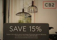 CB2 - 1coupon for 15% off purchase in store or online at cb2.com - Exp.05/31/19