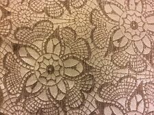 Mpc12 High End Cream Taupe Floral Web Exotic Woven Chenille Fabric Remnant