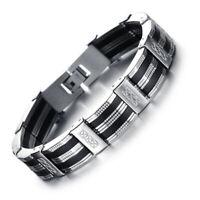 Armband Edelstahl Kürzbar Herren Luxus Armreif Armkette Schwarz Silber 21 cm DE