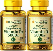 2X 200 = 400 Softgels Vitamin D3 5000 IU Puritan's Pride Mega-Potency FREE SHIP!