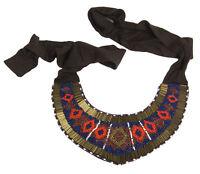 MARINA RINALDI Women's Brown Laterale Tribal Beaded Collar Necklace $195 NWT