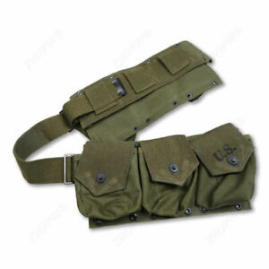 WWII US ARMY INFANTRY M1 PARATROOPER BAR EQUIPMENT AMMO COMBAT BELT GREEN
