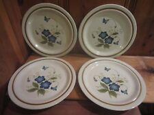 "4 Mikasa Nita Stonecraft Stoneware Dinner Plates Blue Floral ""Celebration"" Japan"