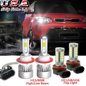 For Kia Soul 2014-2020 White LED Headlight Kit H13 High Low Beam + H11 Fog Light