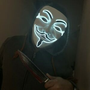 Anonymous LED White Mask Light Up Scary Bonfire Night Halloween Costume Purge