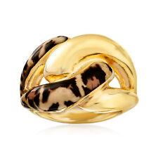 Leopardo de impresión de italiano-enlace Esmalte Anillo en Oro 18kt sobre Sterling