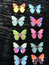 "LOT OF 10 WOODEN BUTTERFLY FLATBACK~2-hole~1"" buttons~crazy quilt~scrapbk & more"