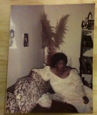 Vintage FOUND PHOTO BLACK WEDDING DAY PICTURES AFRICAN BRIDE SITTING ON COUCH