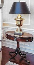 Baker Drum Pedestal Table with Burnished Mahogany Finish and 1 Drawer
