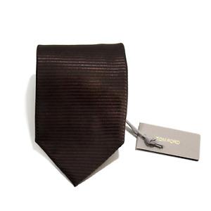 Men's Tom Ford 100% Silk Espresso Brown Woven Stripe Neck Tie MSRP $240