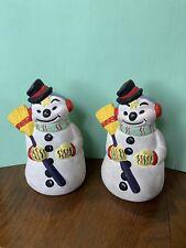 2-handpainted Ceramic Snowman Figures