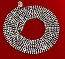 14K White Gold Over 925- 970 Carat Round Cut VVS1/D Diamond Tennis 12mm Necklace