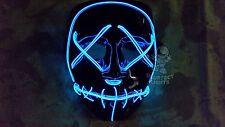 Light Up BLUE PURGE LED Festival Rave Party EDC Halloween Costume Handmade Mask!
