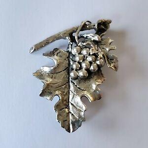 Vintage Sterling Silver Danecraft Detail Grapevine Design Brooch Catch Fastener