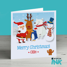 Personalised Christmas Card - Xmas Card - Childrens Christmas Card - Santa