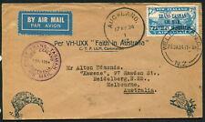 NEW ZEALAND - 1934 7d 'TRANS TASMAN AIR MAIL' Charles Ulm + Letter  [A7705]