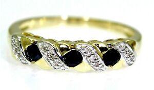Sapphire & Diamond Half Eternity 9ct Yellow Gold ring size M 1/2 ~ 6 1/2