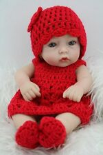 Reborn Toddler Dolls 10'' Handmade Lifelike Baby Solid Silicone Vinyl GIRL Doll