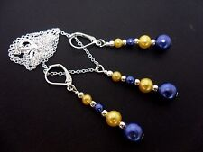 A BLUE & YELLOW GLASS PEARL NECKLACE AND LEVERBACK HOOK EARRING SET. NEW.