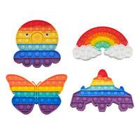 Pop Its Bubble Fidget Toy Rainbow Bubble Stress Relief Kids Autism AU STOCK