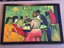 Vtg oil canvas Painting Art Cubism Modern Expressionism 39 x 27 BAR CAFE Scene