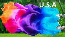 Belly Dance Silk Fan Veils 100% 1.8m Top Quality USA Store  FREE CASE