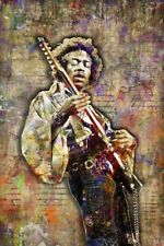 Jimi Hendrix Pop Art 24x36in Poster, Jimi Hendrix Tribute Print Free Shipping