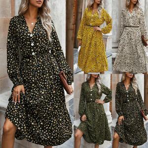 Womens Boho Leopard Printed Midi Dress Ladies Long Sleeve Holiday Casual Dresses
