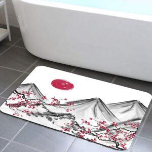 Sunrise Plum Blossom Peak Shower Curtain Toilet Cover Rug Bath Mat Contour Rug