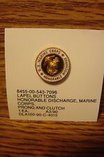 #1 (one) USMC Honorable Discharge U.S. Marine Corps Lapel Button Pin Gold Tone