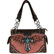 PINK WESTERN CROSS WITH WINGS  SHOULDER HANDBAG COUNTRY WESTERN CONCEALED CARRY
