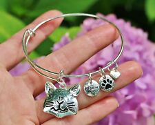 Cat Expandable Wire Bangle Bracelet Kitty Lover Meow Sterling Silver Plt Charms