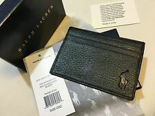 POLO RALPH LAUREN BLACK LEATHER MULTI CARD CASE HOLDER 7 SLOTS