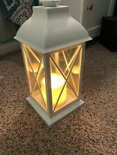 Hanging Battery Operated Tea Light Lantern-  White Plastic13 inches tall