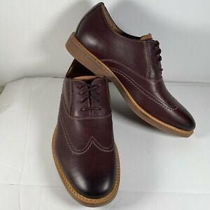 Clarks Atticus Vibe Burgundy Leather Men Shoes Size 7 New