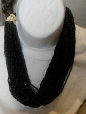 tribal monies ethnic massive glass beads horn multi black bib necklace