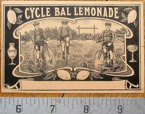 Bicycle, 'Cycle-Ball' - Printer's Proof 1930s Bottle Label - Cycle Bal Lemonade