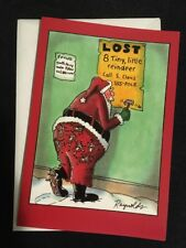 Christmas Holiday Card Nobleworks Lost 8 Tiny Reindeer Santa New Humor Funny