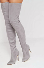 Missguided Womens UK 7 Grey Microsuede Pointed Toe High Heel Over Knee New Boots