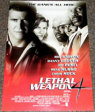 LETHAL WEAPON 4 1998 ORIGINAL 17x26 MOVIE POSTER! MEL GIBSON ACTION CRIME EPIC