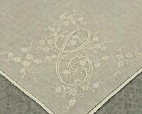 Vtg Antique Handkerchief Hanky White Floral Embroidered Bride Wedding Hankie