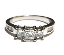 14k white gold .97ct 3 stone princess diamond engagement ring band 3.9g estate